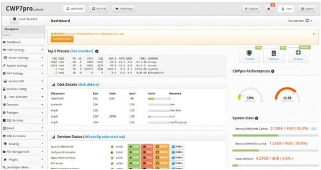 Melhores Alternativas do cPanel - Web CentOS (CWP)